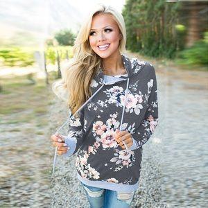 Tops - Gray floral hoodie